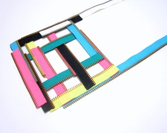 Geometric Zippers Colored Pink Yellow Blue Designers Textile Handmade Statement Necklace