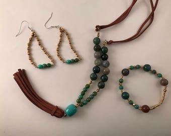 Gold and Green Jewelry Set (Necklace, Earrings, Bracelet)