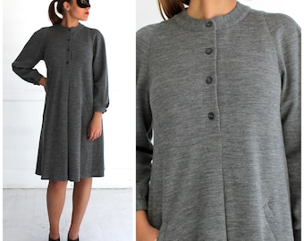 Vintage 80's/90's Classic Gray Wool Tent Swing Dress with Pockets and Peter Pan Collar Embroidered Detail by Mr. Beene | Small/Medium