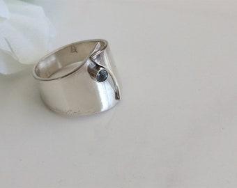 Aquamarine Ring , Ocean Blue Stone on Overlapped Sterling Band, Birthday Gift or Promise Ring