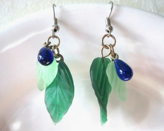 Blue Berry Dangle earrings with frosted green leaves.Think spring. Handmade.