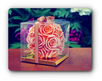 Carved Candle in a Gift Box/Carved Rose Candle/Pretty Carved Candle/Carved Flower Candle/Cool Carved Candle/Elegant Carved Candle