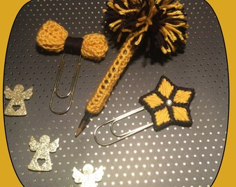 PomPom Pen Cover and Bow, Star Large Gold Paper Clip