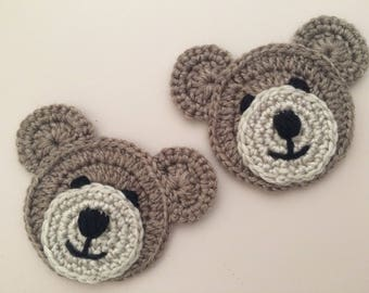 Teddy Bear Applique Crochet Embellishment for Blankets, Children's Clothes or Nursery Decoration