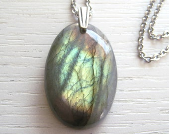 Intense Golden Green and Orange Labradorite Pendant Necklace