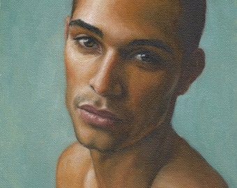 Portrait of a Young Man, Contemporary Realist Male Portrait, Handsome African American Man, Original Oil Painting on Canvas, Pat Kelley