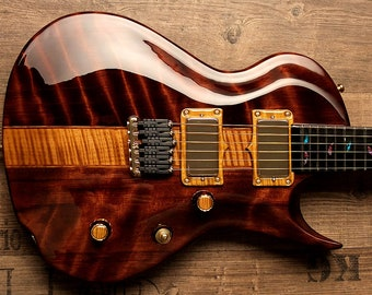 Be a voice - not an echo! Zerberus Guitars Chronos flamed Redwood #001 - unique hand crafted customshop masterpiece brandnew sounding art