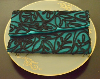 SALE!! Evening Clutch, Lace clutch,  Evening purse, Turquoise  Purse, clutch bag, Evening clutch.