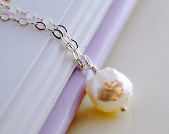 Snowball Necklace, Sterling Silver, Real Freshwater Pearl, Druzy Drusy, Child Children Girl, Fun Christmas Jewelry, Holiday Gift