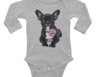 Onesie / Long Sleeve Onesie / Cute Onesie / French Bulldog / Baby Clothes / Bodysuit / Kids Apparel / Baby Shower Gift / Baby Gift