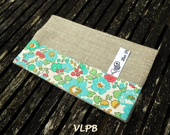 Linen and liberty fabric  Checkbook Cover