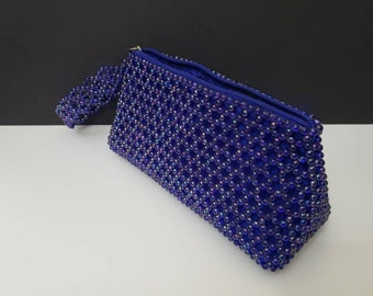 Blue Beaded Clutch, Evening Bag