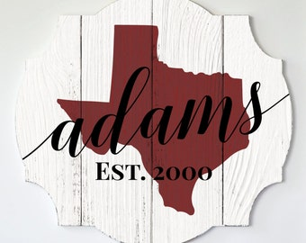 Personalized Wood State Shape Family Name Sign With Rustic Finish