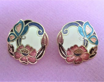 White Cloisonne Stud Earrings Round Circle Floral Earrings for Pierced Ears Artful Summer Earrings White Red Green Gold Jewelry