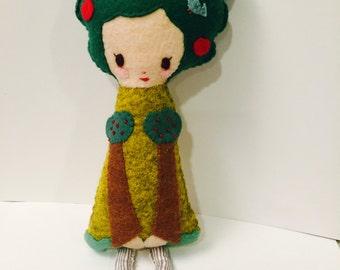 Tree Girl Plushie. Softie. Felt Doll.