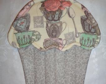 Tea Cup Print Cupcake Shape Potholder