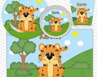 Tiger Plate, Bowl, Cup, Placemat - Personalized Zoo Dinnerware for Kids - Custom Tableware