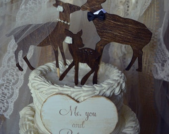Buck doe and fawn wedding cake topper-family wedding cake topper-custom deer-deer hunting-wedding cake topper-fall wedding-rustic-western