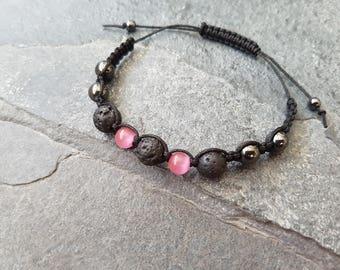 Pink Hematite Aromatherapy Bracelet, Essential Oil Diffuser , Macrame Style Bracelet, Hematite, Lava Rock Bracelet, Volcanic Rock