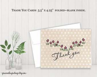 Thank You Notes, Thank You Cards, Stationery Cards, Bridal, Baby Shower, Birthday, Digital, Printable TY612