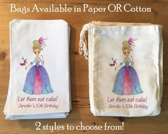 10 Marie Antoinette Let them eat cake Party Favor Bags. 5x7 6x8 7x9 7x11 Drawstring Birthday Gift Basket Bags Personalized. Paper or Cotton