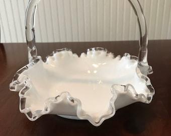 Fenton Glass Silver Crest white basket
