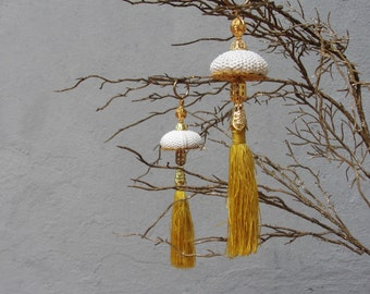 Sea Urchin Ornaments - White and Gold - set of two