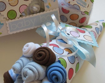 Baby Boy Onesie Cupcake Gift Set with Baby Washcloth Bouquet and Baby Blanket Cupcake