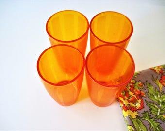 Orange Tumblers, Vintage Glasses, Vintage Tumblers, Orange Stripe Glass, Retro Tumblers, Stripe Tumblers, Orange Water Glasses, Orange