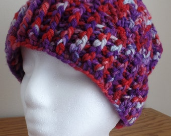 Women's crochet hat, wool, hand dyed, purple and red