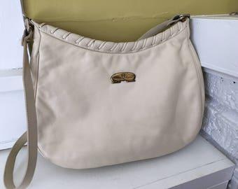 Etienne Aigner Cream Colored Leather Purse Handbag / Braided / Hobo Shoulder Bag