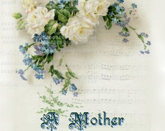 Victorian Mother's Day collage Forget me nots Large digital download roses BUY 3 get one FREE ecs svfteam