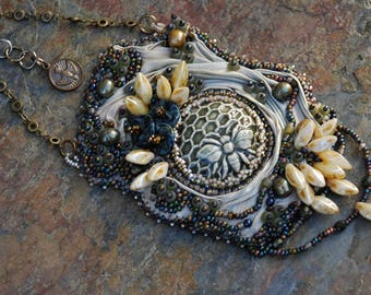 For the Love of Bees Bead Embroidered Necklace