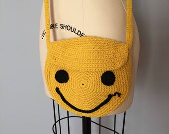 SMILEY FACE crochet purse | mustard yellow crochet messenger bag | smiley purse