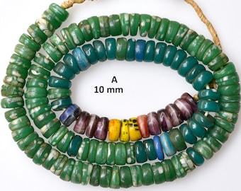 9-10mm Antique Bohemian Kakamba Beads - Vintage African Trade Beads - 24-26 Inch Strand