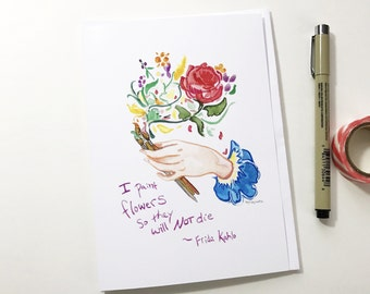 Frida's Flowers, 5x7 card, Ready to Ship greeting card