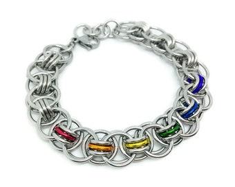 Gay Pride Jewelry, LGBT Bracelet, Gay Pride Bracelet, Rainbow Bracelet, LGBT Jewelry, Rainbow Jewelry, Chainmail Bracelet, Chainmaille, Love