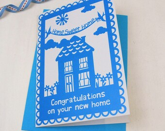 Congratulations On Your New Home Papercut Style Printed Card, Home Sweet Home, new house, housewarming, SKU_WP010