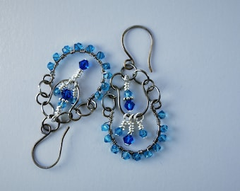 Chandelier earrings with Swarovski crystals in antiqued sterling silver