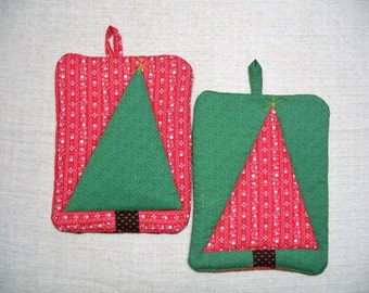 Christmas Tree Pot Holder Set, Holiday Red & Green, Quilted Hot Pads, Insulated Trivets, For the Cook, For the Kitchen