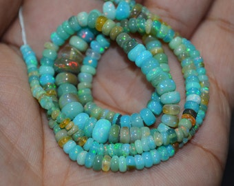 AAA Quality Multi Aqua Ethiopian opal Smooth Beads ,3 to 6 mm Approx. , 18 inch Strand