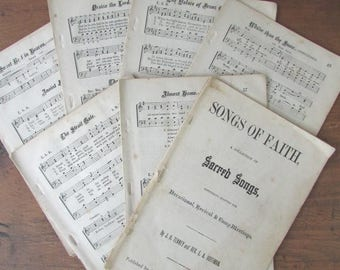 Hymnal Book Pages Vintage Songs Of Faith Paper Ephemera Pages 135+ Pages