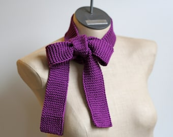 Reserved for Stephanie: Royal Purple Hand Knitted 100% Mercerized Cotton Skinny Scarf Belt Tie
