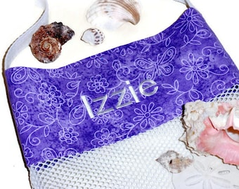 Mesh Sea Shell Collecting Beach Bag, Pool or Beach Toy Bag, Personalized Embroidered Name, Tote Bag, Gift For Girls