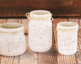 Painted Mason Jar Set of 3 Wedding Center Piece Table Topper Rustic Home Decor