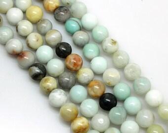 Natural Amazonite, Natural Stone Beads, Amazonite Beads, Round Beads, Semi Precious, Gemstone Beads, 4 6 8 10 12 mm, (OB044)