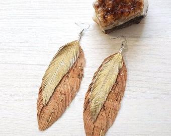 Unique Earrings, Feather Earrings, Leather Feather Earrings, Feather Earrings, Boho, Gypsy, Festival, Hippie, Boho Bride, 70s, Bridesmaids