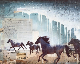 Wild Heart - paper print of mixed media wild mustang horse painting photography