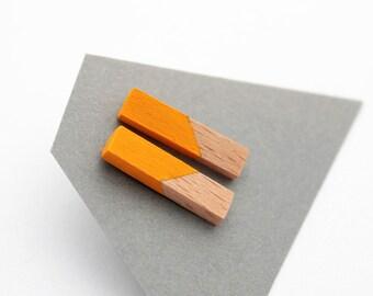 Geometric rod stud earrings - sunny yellow, natural wood - minimalist, modern hand painted wooden jewelry