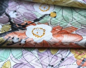 Vintage Kimono Silk, Kimono Fabric, Cherry Blossom Kimono Silk, Japanese Kimono, Floral Silk